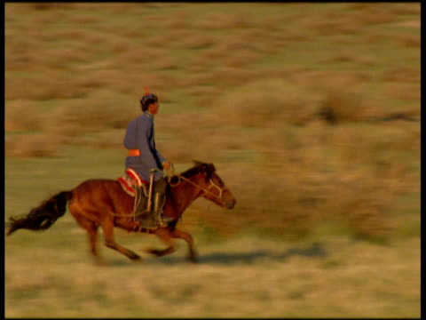 stockvideo's en b-roll-footage met man in traditional clothes rides horse across green plain mongolia - mongolië