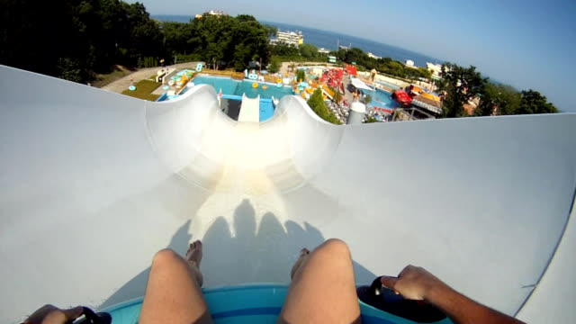 man in water park - hd, ntsc - water slide stock videos & royalty-free footage
