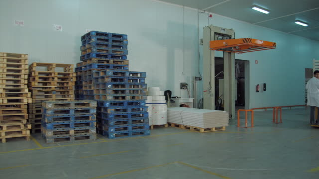 WS PAN Man in white coat driving fork lift loaded with pallets through warehouse / Algarrobo, Malaga, Spain
