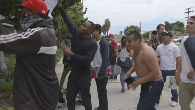 A man is arrested in the aftermath of the Donald Trump Rally at the Anaheim Convention center after an unlawful assembly was declared Supporters of...
