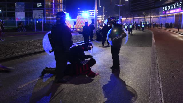 """man is knocked to the ground as police deal with a confrontation with protesters on march 26, 2021 in bristol, england. a similar """"kill the bill""""... - bristol england stock videos & royalty-free footage"""