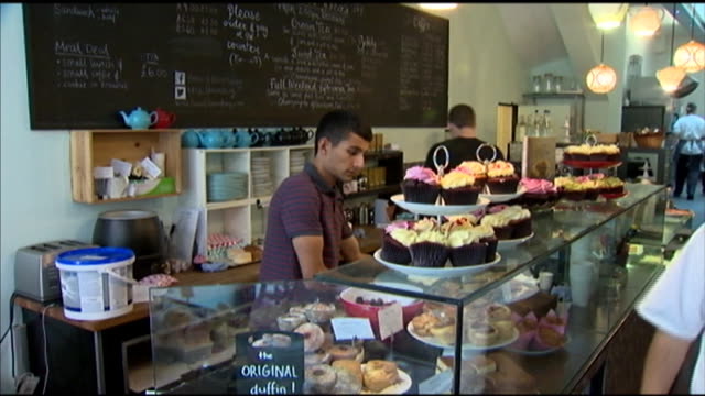 stockvideo's en b-roll-footage met man is seen working at a bakery. - healthcare and medicine or illness or food and drink or fitness or exercise or wellbeing