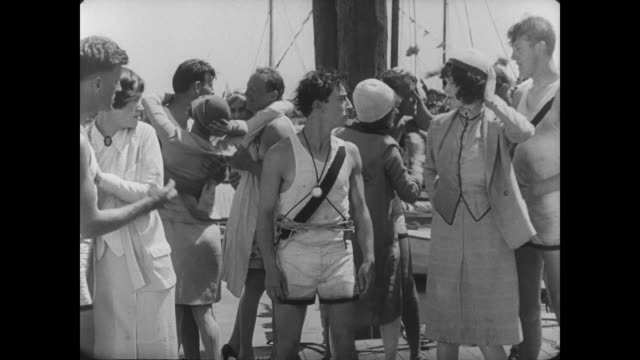 1927 Man (Buster Keaton) isn't greeted upon winning the race