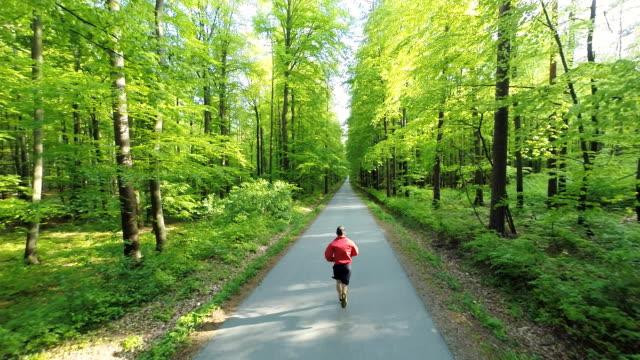 HD ヘリ: 男性のジョギングに沿って森林 Road