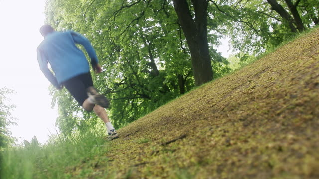 man jogging in a park, sweden. - uphill stock videos & royalty-free footage