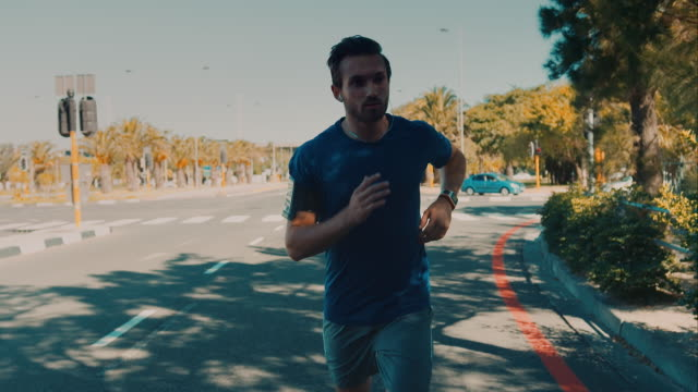 Man jogging in urban setting