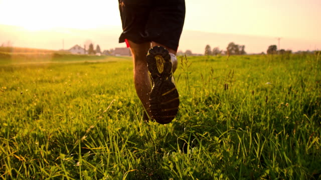 slo mo man jogging in wet grass - human leg stock videos & royalty-free footage