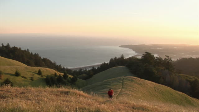 WS PAN HA Man jogging on hill overlooking sea, Mount Tamalpais, California, USA