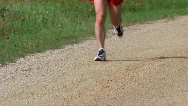 ms tu slo mo man jogging through field / johnson city, texas, usa - johnson city texas stock videos & royalty-free footage