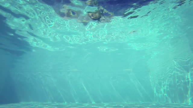 Man jumping and diving in swimming pool - slow motion