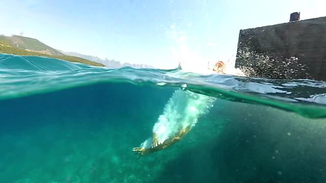 スローモーションは水中を閉じる:海に高い岩から頭の上に水に飛び込む男 - bar点の映像素材/bロール