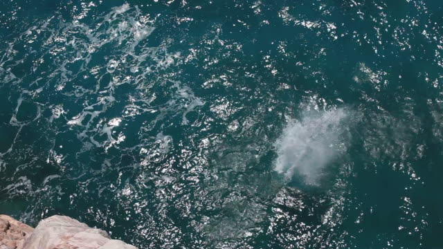 Man jumps into water below from high rocky perch
