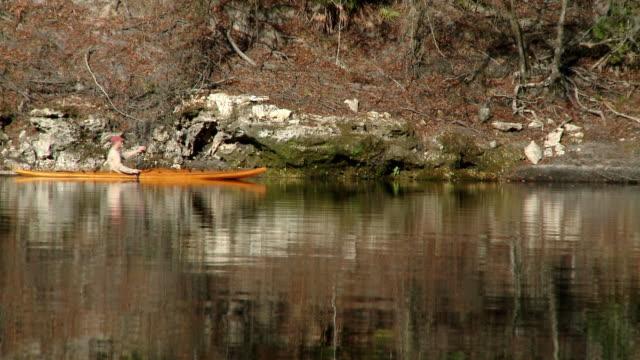 WS Man kayaking on river, Live Oak, Florida, USA