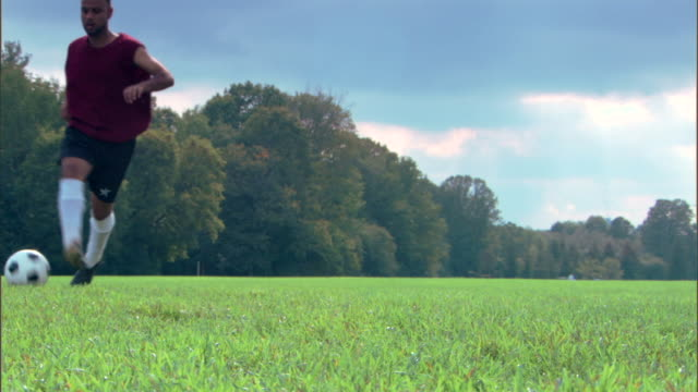 man kicking soccer ball in field - see other clips from this shoot 1280 stock videos & royalty-free footage