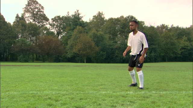 man kicking soccer ball - see other clips from this shoot 1280 stock videos & royalty-free footage