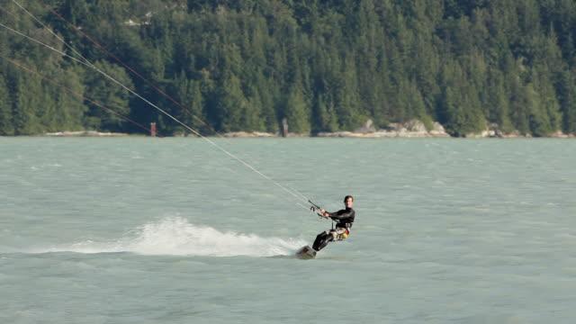 ws pan man kite boarding  / squamish, british columbia, canada - squamish stock videos & royalty-free footage