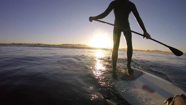 man kneeling sup stand-up paddleboard surfing pov at sunrise. - oar stock videos & royalty-free footage