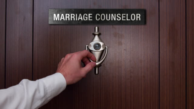 Man knocking on marriage counselor door