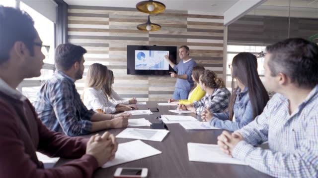 vídeos y material grabado en eventos de stock de hombre llevando una reunión y que muestra el desarrollo del crecimiento del negocio en la pantalla - altos cargos directivos