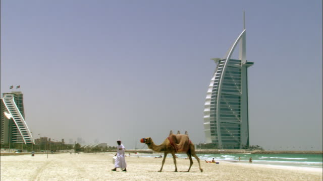 ws, man leading camel on beach, burj al arab hotel in background, dubai, united arab emirates - famous place stock videos & royalty-free footage