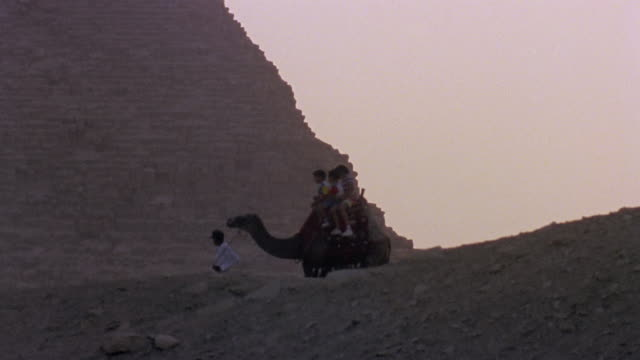 ws man leading camel with three children riding near ancient pyramid / giza, egypt - 1992 stock videos & royalty-free footage