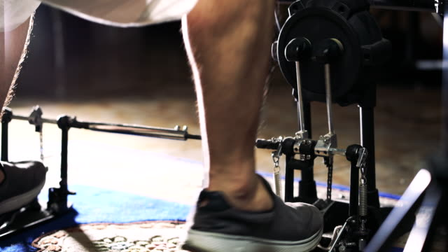 man leg playing bass drum pedal at home.uhd 4k footage 3840x2160 - drummer stock videos & royalty-free footage