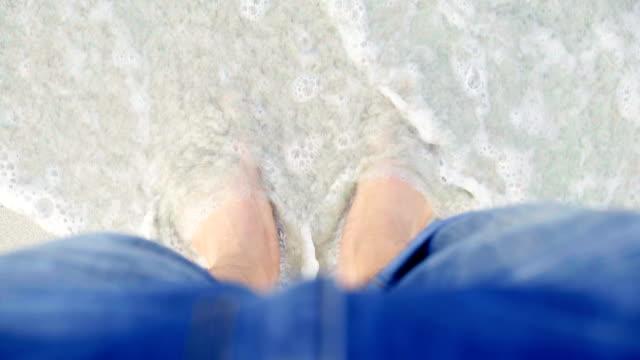 Man legs on the beach