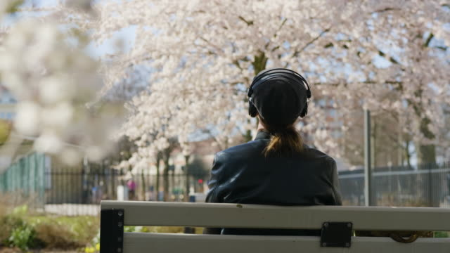 man listening to music in the park with enjoyment - sitting stock videos & royalty-free footage