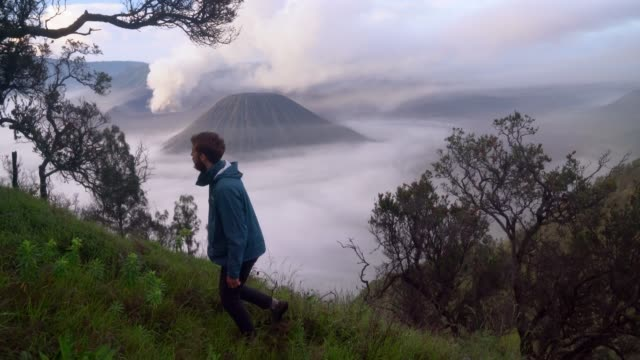 man looking at  bromo volcano at sunrise - mount bromo stock videos & royalty-free footage