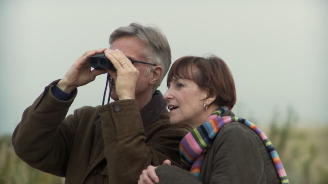 ms man looking through binoculars, woman talking standing by / sea bright, new jersey, usa - binoculars stock videos & royalty-free footage