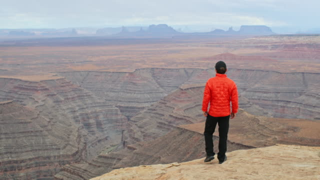 A man looks across a canyon
