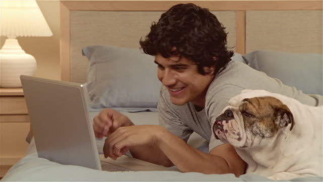 MS, Man lying on bed, using laptop, English bulldog assisting