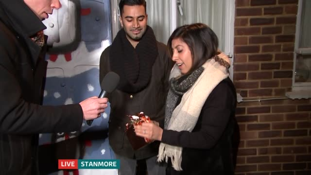 man makes ultimate advent calendar for wife zyleen hewins and ben hewins live interview sot reporter to camera - advent calendar stock videos & royalty-free footage