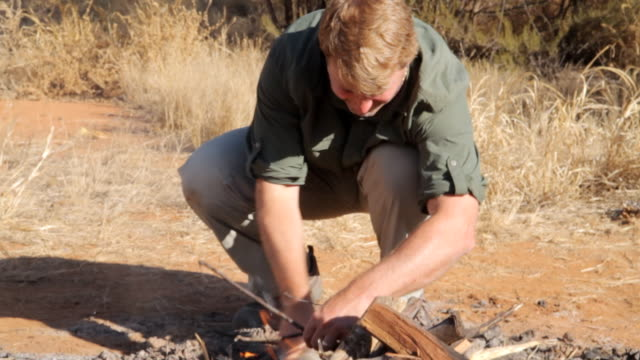 MS ZO Man making fire / Northern Territory, Australia