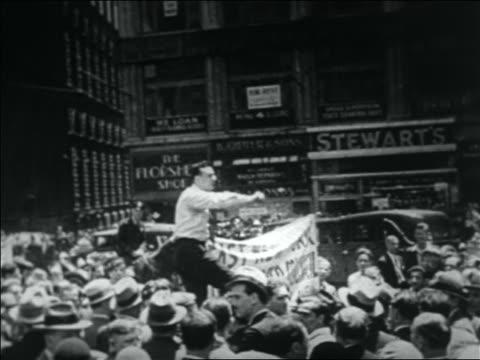 B/W 1932 man making passionate speech to WWI veterans in Bonus March / NYC