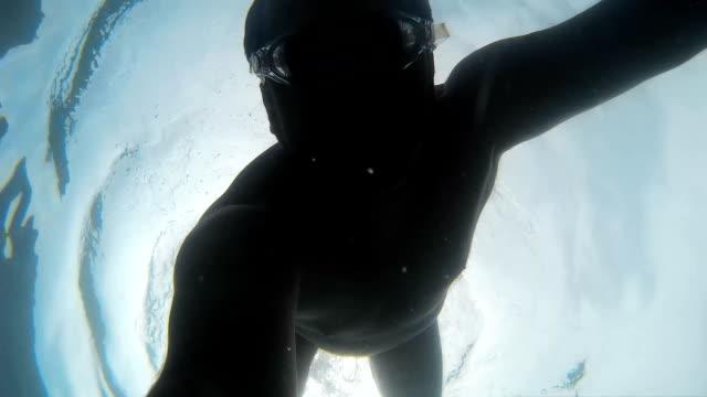 Man making selfie snorkeling underwater