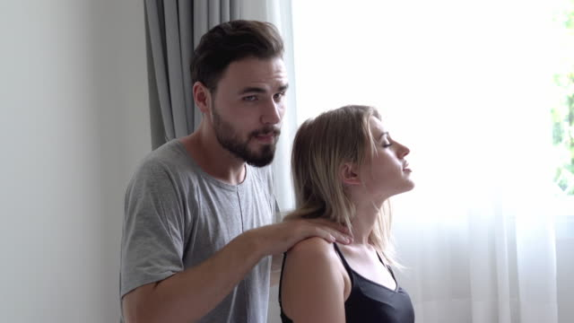 man massage woman and kiss on nose - girlfriend stock videos & royalty-free footage