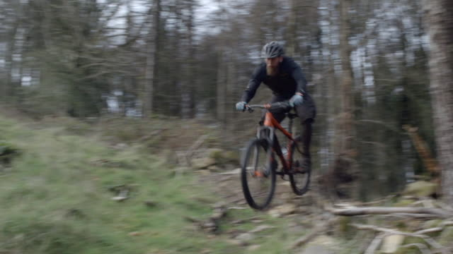 a man mountain biking in the woods. - mountain bike stock videos and b-roll footage