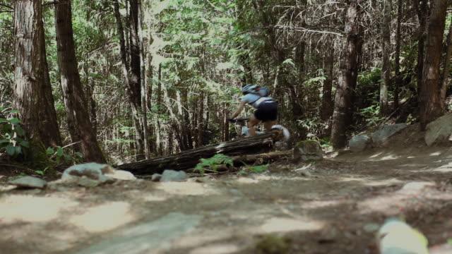 WS Man mountain biking through forest / Squamish/Whistler, British Columbia, Canada