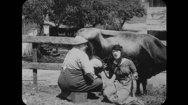 1916 Man (Fatty Arbuckle) moves calf and squirts woman (Mabel Normand) with cow's milk before he tries to milk a horse