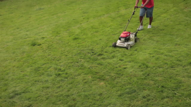 ms man mowing lawn diagonally / portland, oregon, united states - lawn mower stock videos and b-roll footage