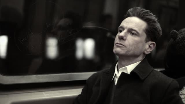 Man on a subway train