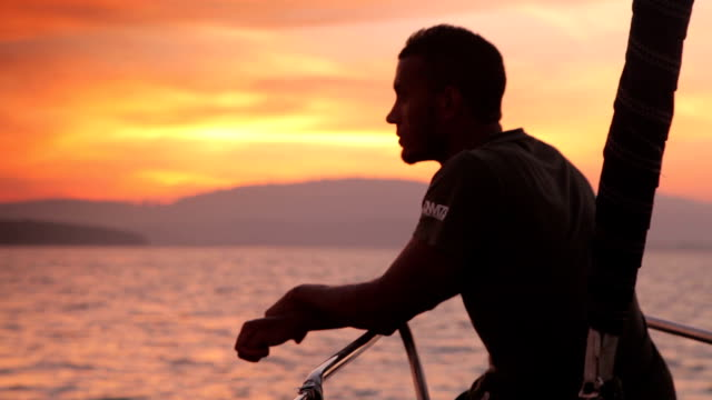 Man on a Yacht, Sailing Holiday, Sunset