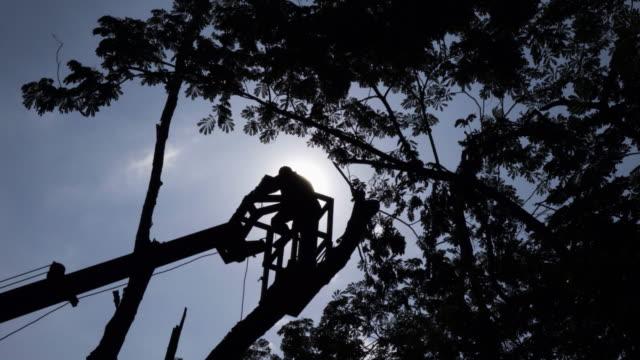 man on crane basket 4k. - pendant light stock videos & royalty-free footage