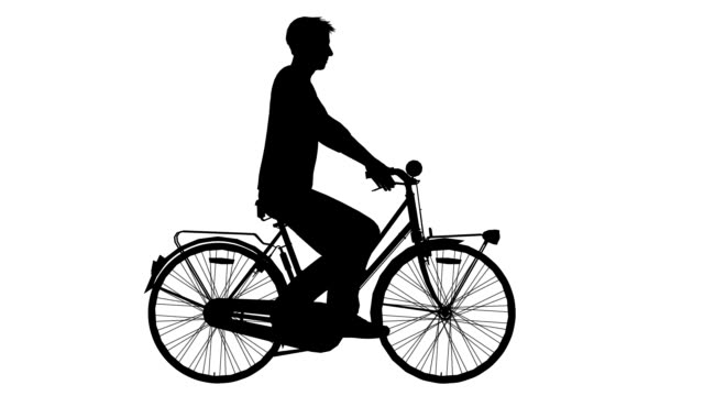 man on cycle ride (loopable) - outline stock videos & royalty-free footage