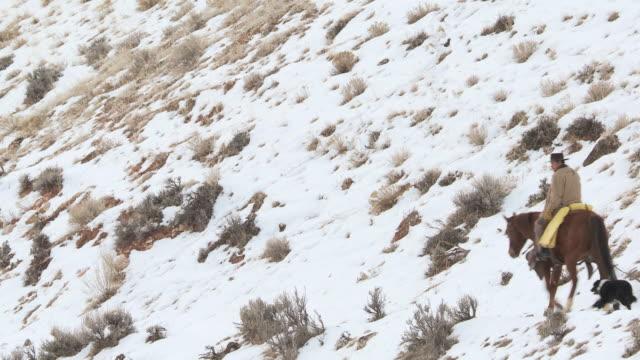 vídeos y material grabado en eventos de stock de ws man on horse walking with dog on snowy hillside / shell, wyoming, united states - galopar