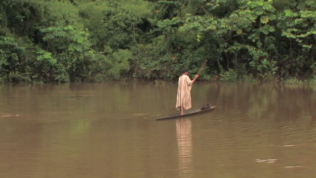 ms man on river in narrow wooden raft/ manu national park, peru - nativo d'america video stock e b–roll