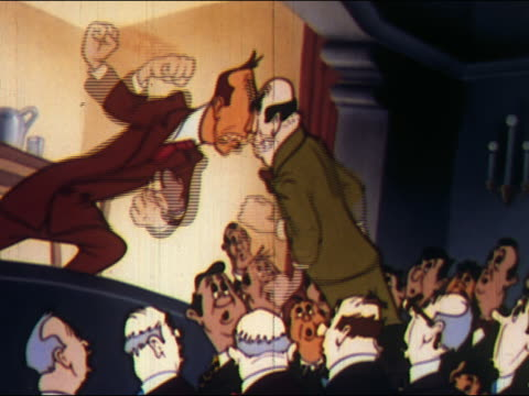 1948 ANIMATION man on stage and member of audience arguing + waving fists