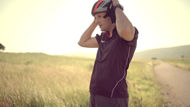man on the bicycle - cycling helmet stock videos & royalty-free footage