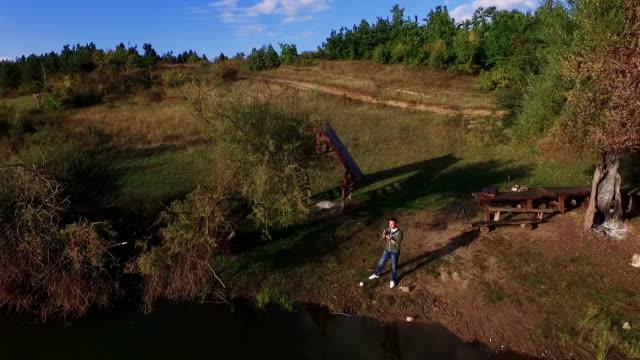 Man on the Mountain lake - Drone shot